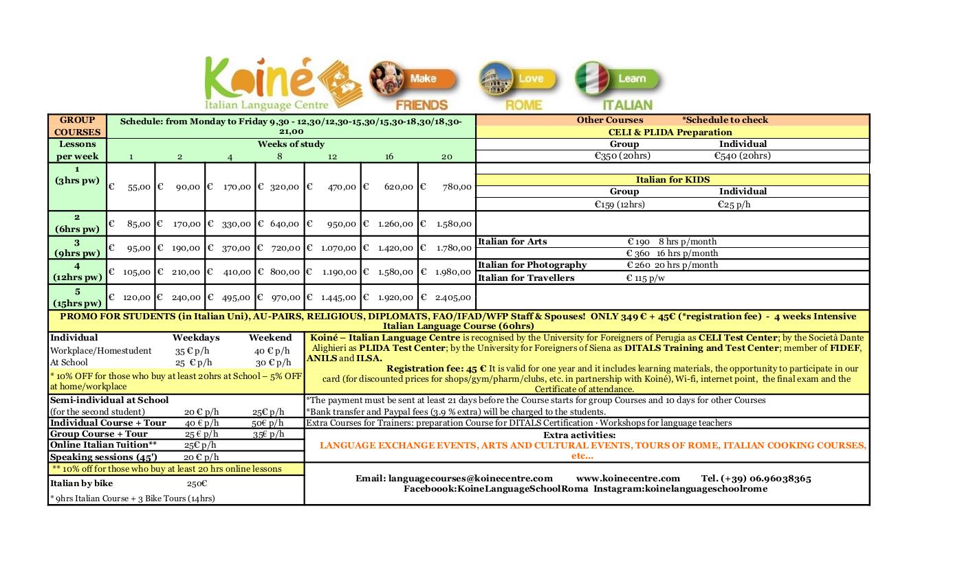 Price List Koiné Centre